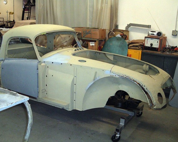This historic Sebring MGA coupe race car came in to preserve as much of the original body work as possible.
