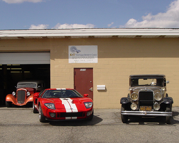 Wide range of client cars: 1934 Chevy street rod, 2005 Ford GT, 1929 Nash