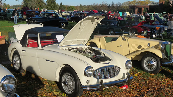 The 1957 Austin-Healey 100-S on display at Hershey.