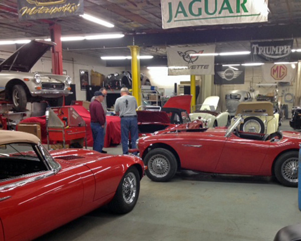 A Jaguar E type, Austin-Healey, four kinds of MGs … and a VW Beetle in our bodyshop