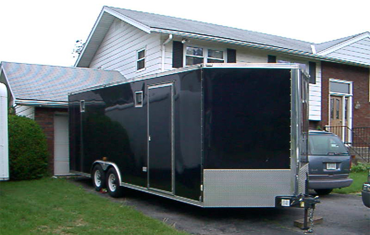 Our 20-foot black trailer is a little fancier.